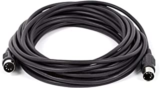Monoprice MIDI Cable - 25 Feet - Black with Keyed 5-Pin DIN Connector, Molded Connector Shells