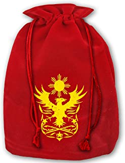 Allgobee Large Christmas Bag Philippine Eagle Velour Santa Sack Drawstring Bags Jewelry Pouches