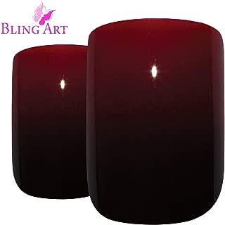 Bling Art False Nails French Fake Glossy Red Black Squoval Medium Acrylic Tips