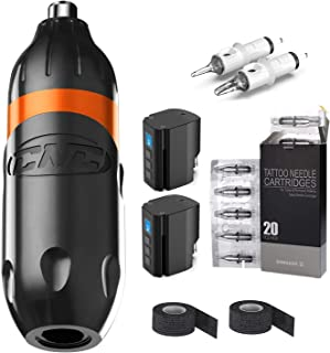 Roterende Tattoo Pen Machine Aluminium Motor Korte Pen Tattoo Kit RCA Connector met 20 stuks Cartridges en 2 stuks Draadlo...