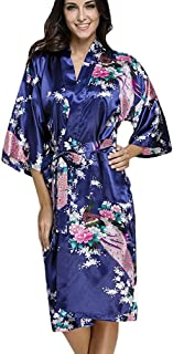 ea9827554d3 FLYCHEN Women s Satin Kimono Robe Sleepwear for Ladies Plus Size