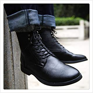 Men Pu Leather Boots Winter Shoes Fashion Male Lace Up Warm Ankle Boots
