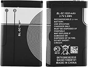 XHDATA BL-5C 3.7V 1020mAh Rechargeable Battery Suitable for Radio Current Protection Household Battery 2 Pieces Black.