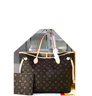 MARIA SCHROEDER Production Iconic The Most Famous TOTE Bag Medium Size Brown Beautiful Color Canvas Material With Logos Casual Travel Cosy Luggage Fashion Cow Leather Handles with Pouch Wallet Inside