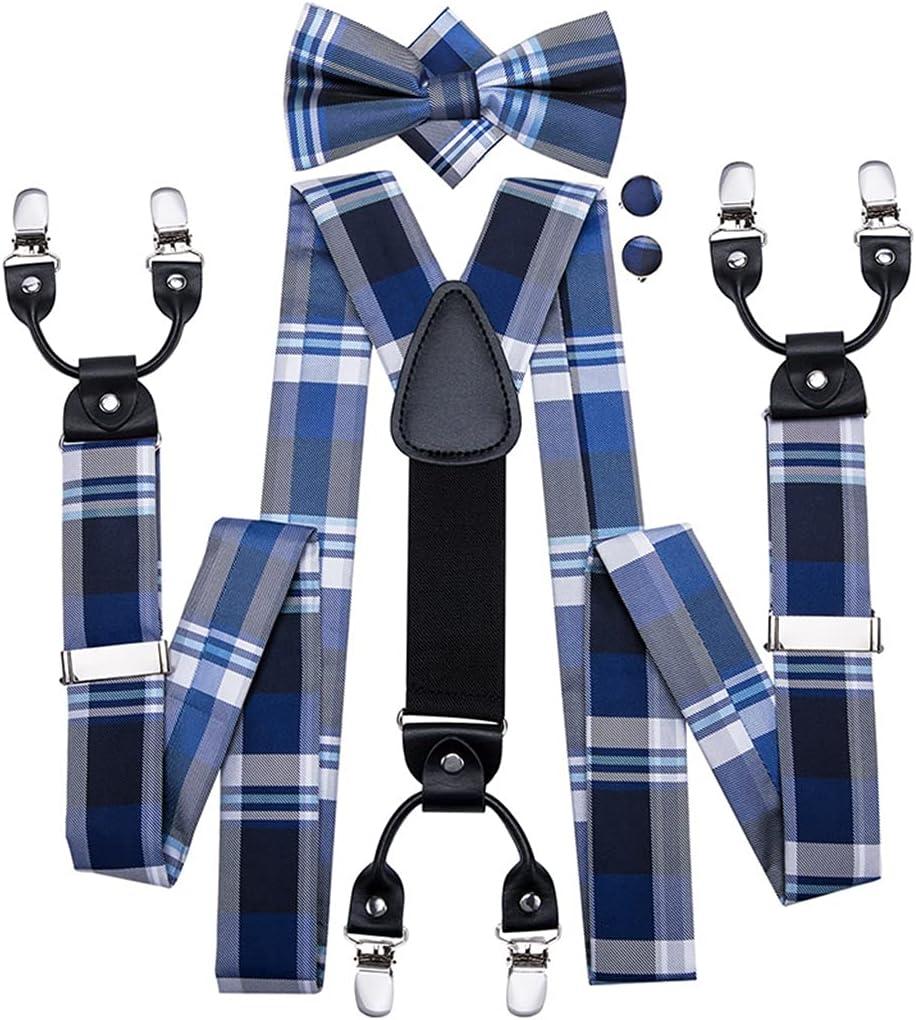 WSSBK Men's Suspenders Blue Plaid Vintage Fashion 6 Clips Braces for Men Wedding Work Suspender and Bowtie Set (Color : A, Size : Adjustable)
