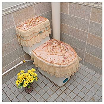 KRWHTS New European Style Plush Bathroom Toilet Decor 3-piece Tank Cover Toilet Lid Toilet Seat Cover Set Zippered Lace Style Bathroom Tank Cover  Pink and purple   8