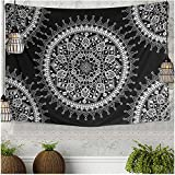 Jiamingyang Flower Elephant Print Wall Hanging Tapestry Bohemian Room Decor Bedding Rug (Large/80' x 60', Black)