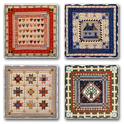 Highland Graphics American Quilts ~ 4 Tile Square assorted coasters Drink Coasters ~ code 446