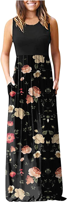 Aniwood Dress for Women Casual Elegant,Women's Deep V Floral Print Ruffled Maxi Dresses Casual Long Dresses Beach Dress