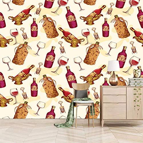 fotomurales autoadhesivos 350x245cm Dibujos animados botella de vino copa de vino mural bebe 3D fotomurales salon dormitorio papel tapiz habitación infantil murales Fotomural dormitorio Peel and Stick