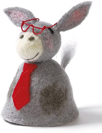Preisvergleich für Dekorativer Niedlicher Eierwärmer Esel mit Brille und Schlips aus Filz (2)