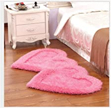 Stretch Silk Carpet,Heart-Shaped Romantic Thickening Bedroom Household Non-Slip Rug/mat Bath Mat Washable Soft mat (Color ...