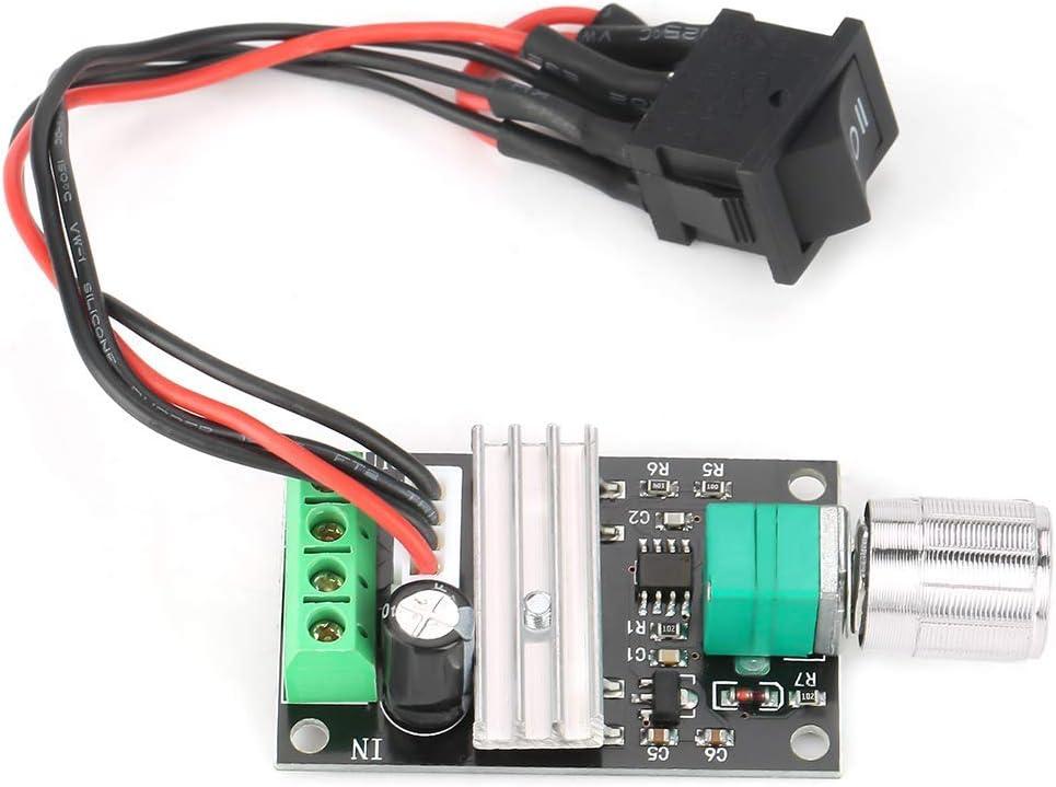 Regulador de velocidad del motor PWM reversible, regulador de velocidad del motor de alta calidad, CC 6 V, 12 V, 24 V, motor de cepillo de plástico y componentes electrónicos.