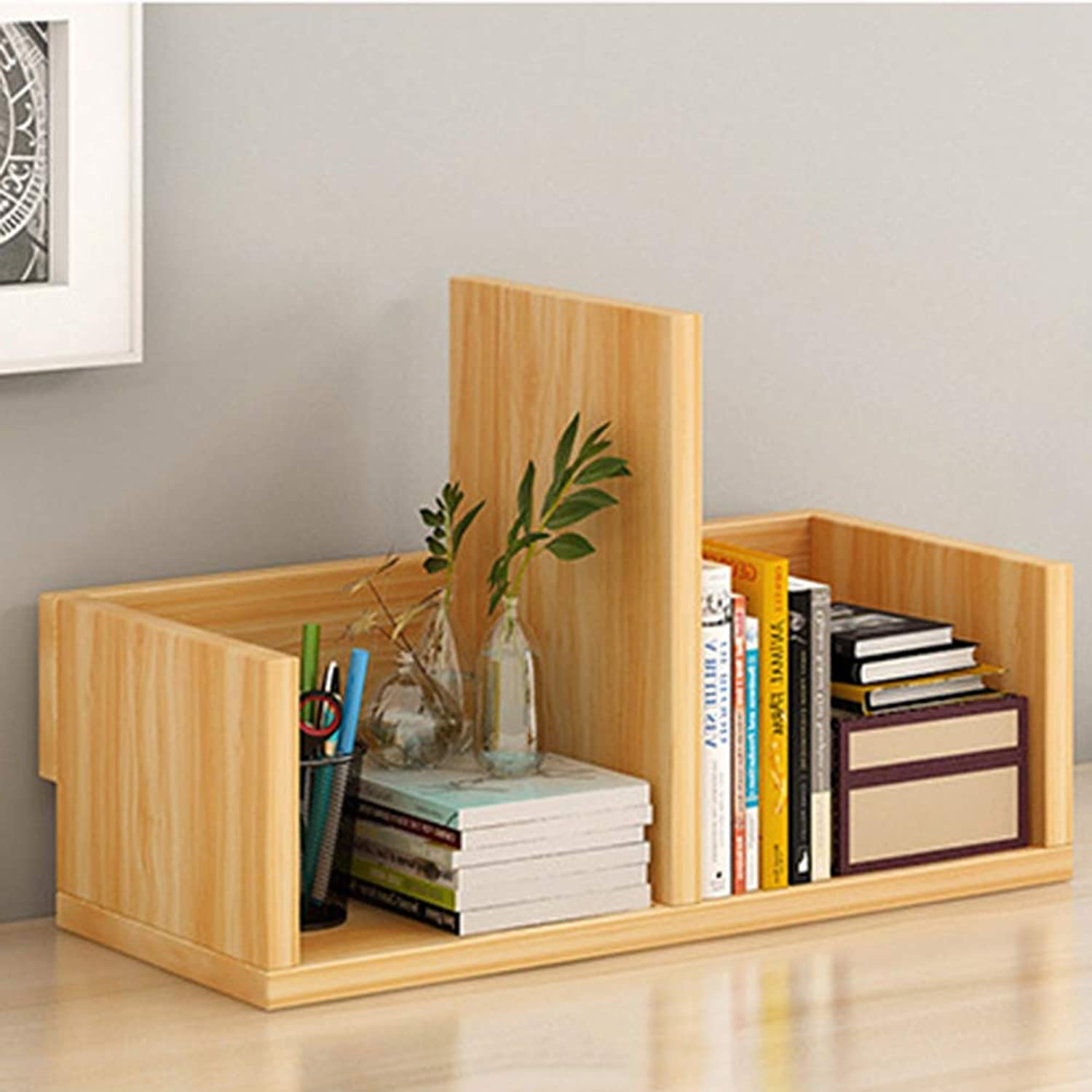 Bookcase Creative Table Small Bookshelf Desktop Shelves Simple Artificial Wood-Based Board Small Office Storage Rack (Self Assembly),A