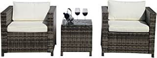 Outdoor Patio Furniture Set, 3-Piece Patio Conversation Set 2 Armchair Glass Coffee Table,Steel Frame, White Cushions