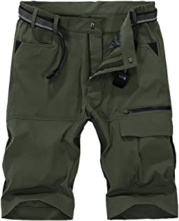 Men's Outdoor Super Lightweight Quick Dry Stretchy Cargo Shorts with Multi Pockets (No Belt)