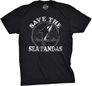 Mens Save The Sea Pandas Funny Whale Orca Dolphin Ocean Life T Shirt
