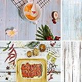 Fondo de madera 2 en 1 azul y blanco con textura de madera para fotos, tablero de papel para pequeños productos, 40 x 88 cm, 40 x 86 cm
