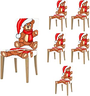 Super Fit Stretch Jacquard Removable Washable Short Dining Chair Covers Seat Slipcover for Christmas,Dining Room,Ceremony,Banquet Wedding Party 225.DIY Christmas Santa Bear