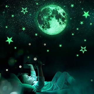 Planetas y Estrellas Fluorescentes,Estrellas Adhesivas Fluorescentes Techo,Estrellas Fluorescentes Azules,Estrellas Fluorescentes para Techo 3d,Luna Pegatina Fluorescente