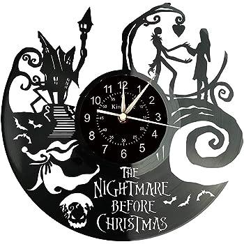 Reloj de disco de vinilo Pesadilla antes de Navidad decoración de pared: Amazon.es: Hogar