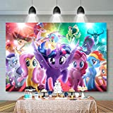 My Little Pony Party Decoration Rainbow Backdrop Children Cartoon Backdrop Girls Children Birthday Photography Background My Little Pony Photography Backdrop Photo Props Baby Shower Banner for Girl