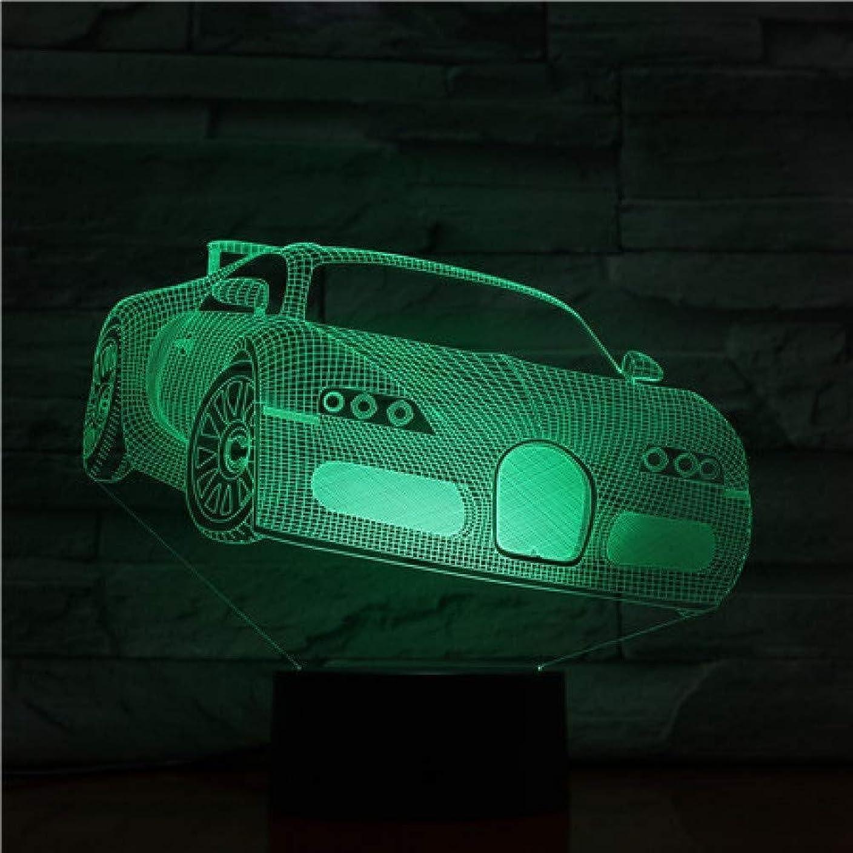 乳白空白気質3Dイリュージョンカーモデルタッチセンサーマルチカラーミュージシャンベッドルームベッドサイド装飾デスクランプキッズフェスティバル誕生日プレゼントのUSB充電