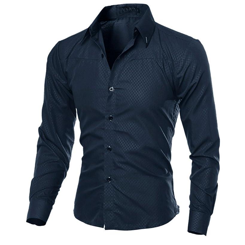 Man Fashion Long Sleeve Plaid Printed Solid Casual Slim Daily T-Shirts Tops
