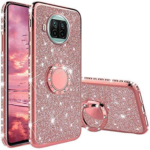 Hülle für Xiaomi Mi 10T Lite, Glitzer Bling Glänzend Strass Diamant Handyhülle mit 360 Grad Ring Ständer Ultradünn Stoßfest TPU Silikon Tasche Schutzhülle - Rosé Gold
