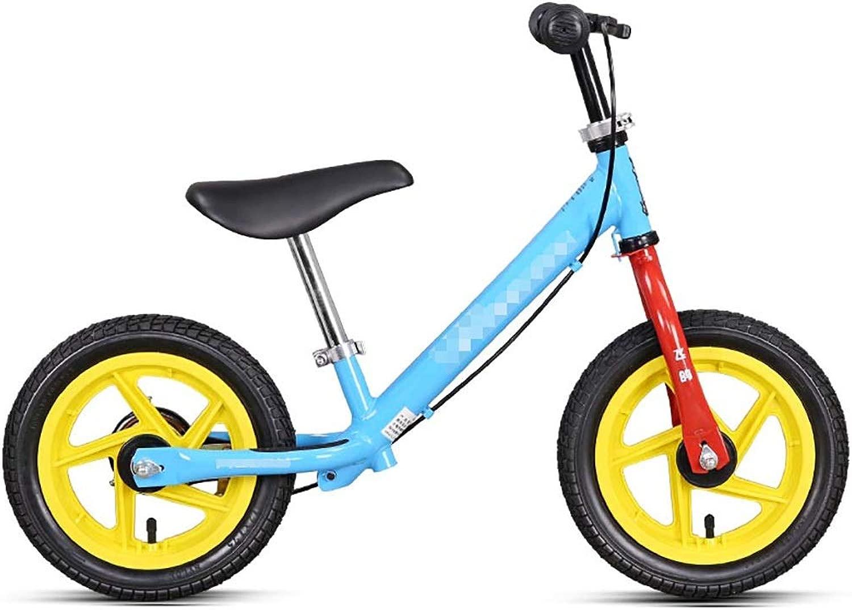 WENJUN Biciclette Senza Pedali, Metal Pedal Balance Bike Sport Balance Bike Balance Bike con Ruote in Lega per Bambini di 2-6 Anni, Nessun Angolo Acuto 2 Coloreei ( Coloree   Blu )