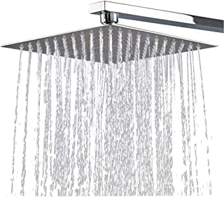 Conhee 12 Inches Square Rain Showerhead, Large Shower Head Made of 304 Stainless Steel, High Flow Rainfall Shower Head Ultra-Thin Pressure-Boosting Design, with Silicone Nozzle Anti-clog Anti-leak
