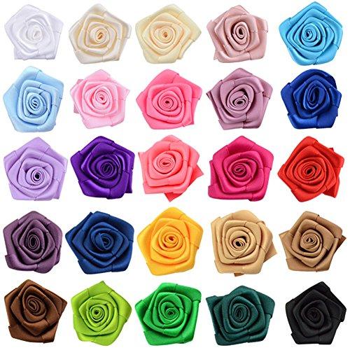 Milopon Rosen Blumen Band Kleine DIY Deko Blumen für Hand Verzierungen Haarschmuck Halskette Armbänder DIY 4CM 30pcs