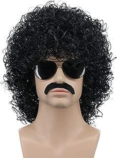 Karlery Mens Short Curly Black Rocker Mustache Beard Wig California Halloween Cosplay Wig Anime Costume Party Wig (Black)