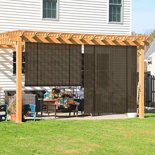 Coarbor Outdoor Roll up Shades Blinds for Porch Pergola Shade Privacy Roller Shade Screen for Deck Gazebo Brown 6'W x 6'H