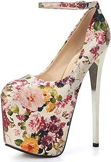 f6b9d3bf906 fereshte Women s Ankle Strap Super High Heel Platform Wedding Pumps