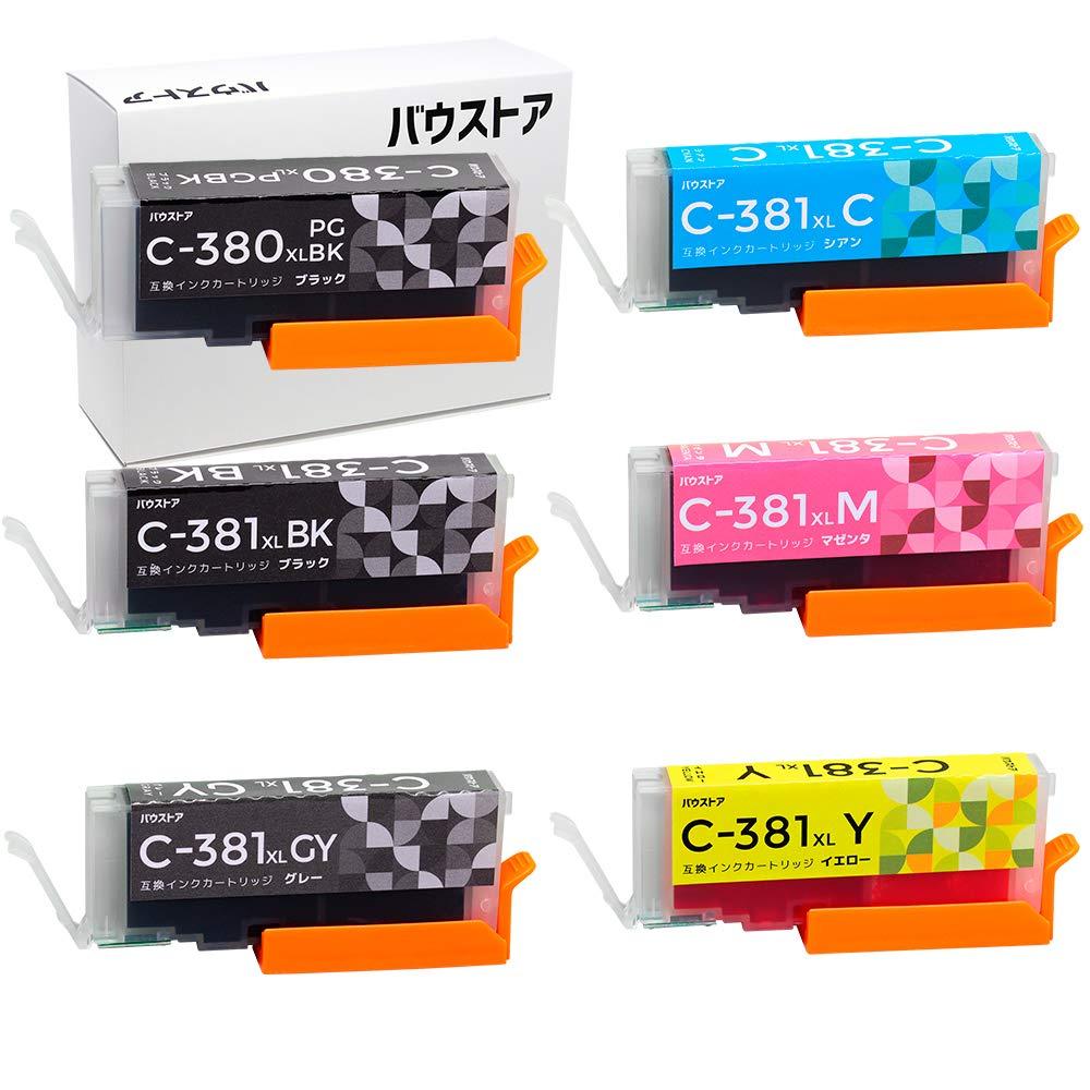 復活不完全な通信網Canon 大容量タイプ BCI-381XL + BCI-380XL 用互換インク 6個セット(グレー有)【バウストア】