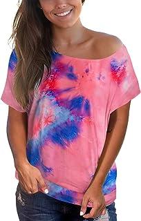deqiang Womens Short Sleeve Tops Casual Off Shoulder Summer Tee Tie Dye Shirt