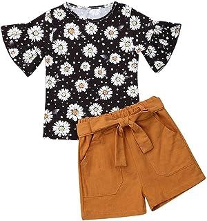 Cute 1-6T Conjunto de Ropa para niños y niñas con Mangas Acampanadas y Blusa + Pantalones Cortos con cinturón