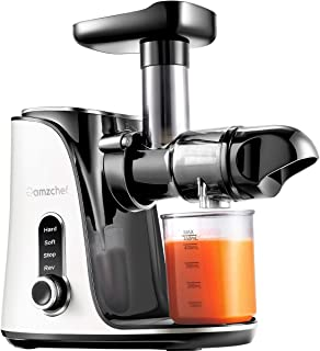 Juicer Machines,AMZCHEF Slow Masticating Juicer Extractor, Cold Press Juicer with Two Speed Modes, 2 Travel bottles(500ML)...