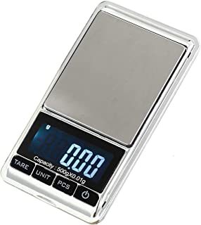 Digital Pocket Scale, 0.001oz/0.01g 500g Precision Portable Jewelry Scale, Mini Electronic Gram Weight Scales, Tare, Auto Off, Stainless Steel, White Backlit Display