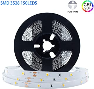 LightingWill LED Strip Light CRI90 SMD3528 16.4Ft(5M) 150LEDs Daylight White 5000K-6000K 30LEDs/M DC12V 12W 2.4W/M 8mm White PCB Flexible Ribbon Strip with Adhesive Tape Non-Waterproof H3528PW150N
