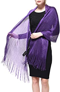 Womens Wedding Evening Shawl and Wrap Glitter Metallic Party Dresses Scarf with Fringe