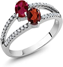 Gem Stone King 925 Sterling Silver Red Created Ruby and Red Garnet 2 Stone Women's Ring 1.41 Ctw Oval (Available 5,6,7,8,9)