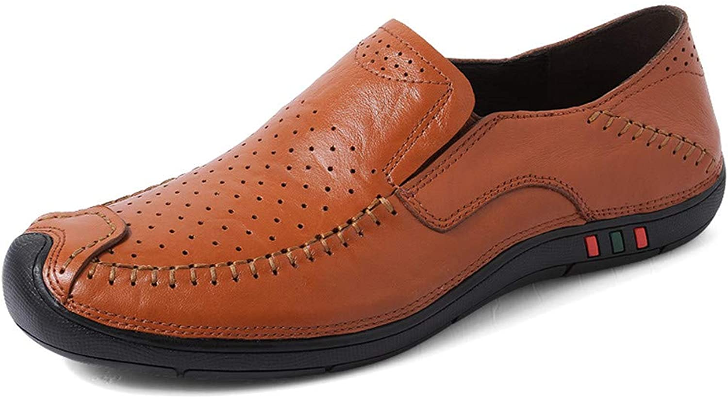 MUMUWU Men's Driving Loafers Casual Four Seasons Set Foot Size Comfortable Wear-Resistant Boat Moccasins Semi (color   Hollow Brown, Size   10 D(M) US)