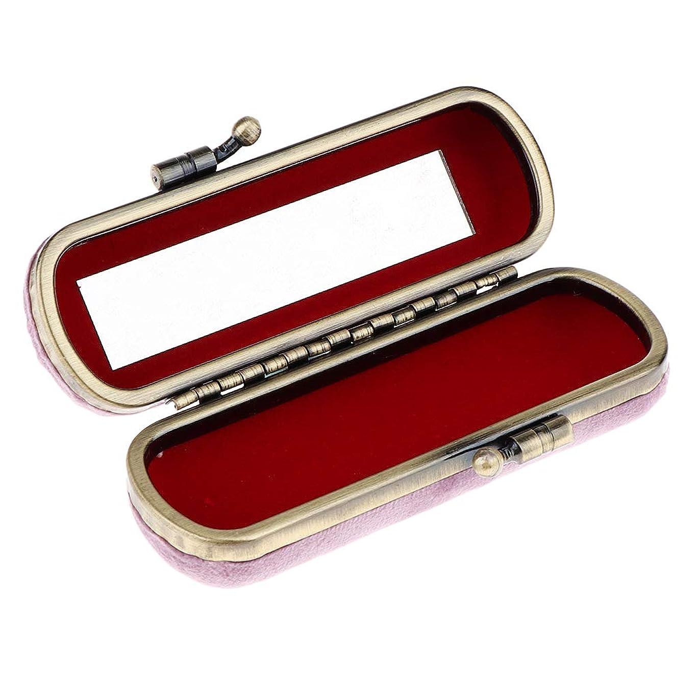 鳴らす取り囲むギャラントリーCUTICATE 8色選ぶ ヴィンテージ 化粧ポーチ 口紅ホルダー ミラー付き リップグロスホルダー 化粧ケース - ピンク