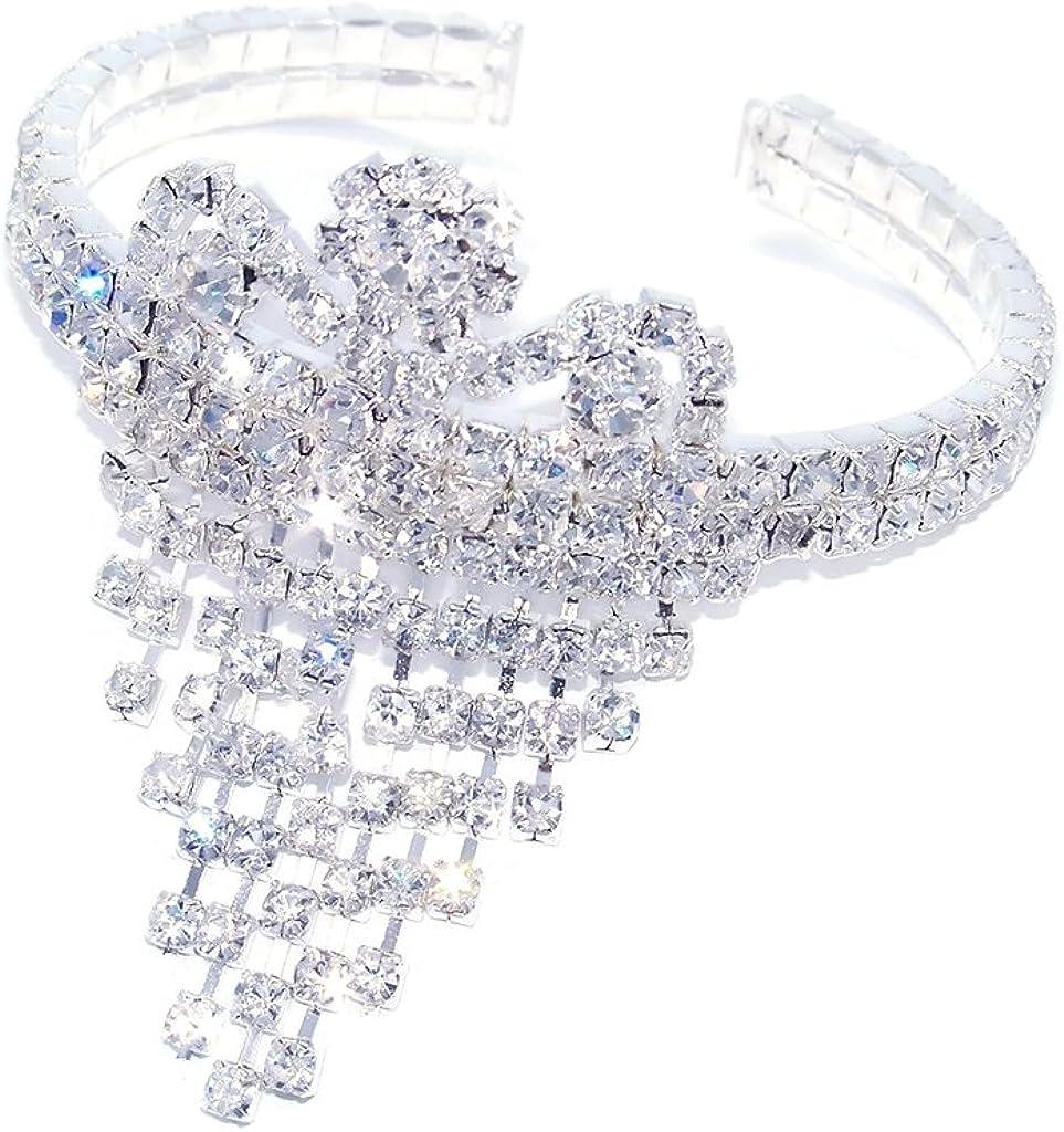 DesignedDazzle Shiny Rhinestone Elastic Stretch Bracelet Sparkling Bridal Bangle Wrist Band