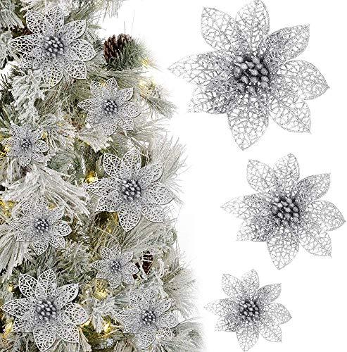KBNIAN 24 Stück Silber Poinsettia Kunstblumen Weihnachtsbaumschmuck künstliche Blumen Weihnachtsbaum Ornament für Weihnachtsblumen Baum Kränze Dekor Ornament