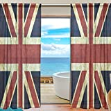 WOZO Custom Vintage Union Jack British Sheer Panel Pair Curtains 55'x78' Modern Window Treatment Panel Collection for Living Room Bedroom Home Decor