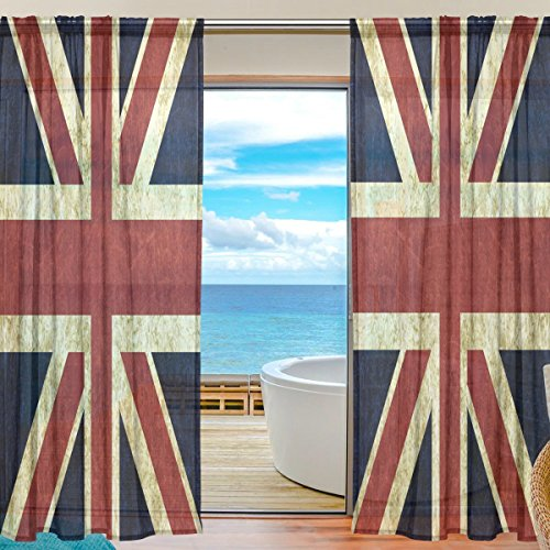 "WOZO Custom Vintage Union Jack British Sheer Panel Pair Curtains 55""x78"" Modern Window Treatment Panel Collection for Living Room Bedroom Home Decor"