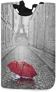 Tour Eiffel et parapluie rouge grand bac de rangement pour la maison, sacs de rangement, panier à linge, panier à linge pl...